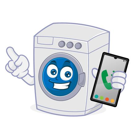 Washing machine hold phone and pointing Isolated in white background Ilustração