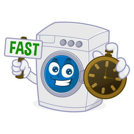 Washing machine holding clock and fast sign Isolated in white background Ilustração