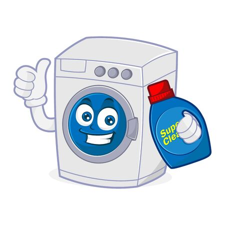 Washing machine holding detergent and give thumb up Isolated in white background
