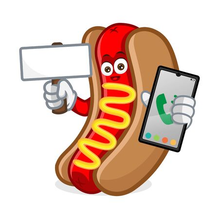 hotdog mascot cartoon illustration hold phone and blank sign isolated in white background