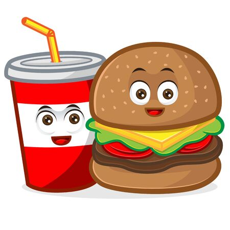 Burger and soft drink mascot cartoon illustration isolated in white background Vettoriali