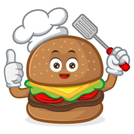 Burger mascot cartoon illustration give thumb up and hold spatula isolated in white background Vettoriali