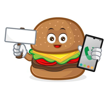 Burger mascot cartoon illustration hold blank sign and phone isolated in white background