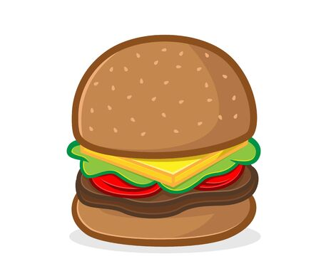 Burger mascot cartoon illustration isolated in white background Ilustração