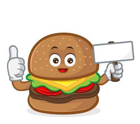 Burger mascot cartoon illustration  give thumb up and hold blank sign isolated in white background