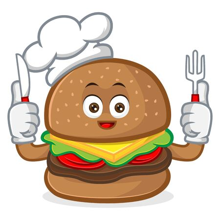 Burger mascot cartoon illustration hold fork and knife isolated in white background Ilustração