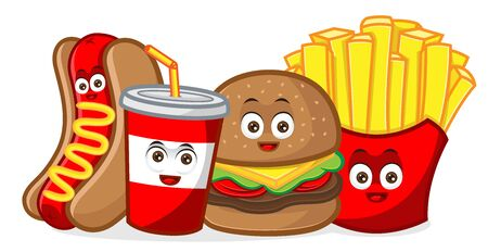 fast food cartoon mascot illustration isolated in white background Vettoriali