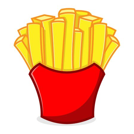 French Fries Mascot cartoon illustration Isolated in white background