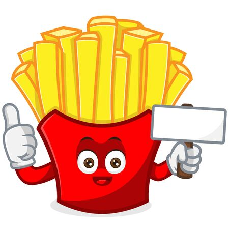 French Fries Mascot cartoon illustration hold blank sign and give thumb up illustration Isolated in white background