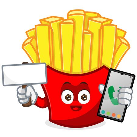 French Fries Mascot cartoon illustration hold blank sign and phone Isolated in white background Vettoriali