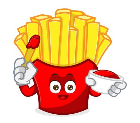 French Fries Mascot cartoon illustration hold tomato ketchup Isolated in white background