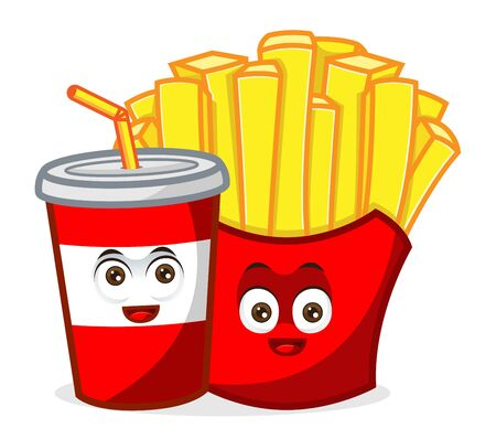 French Fries Mascot with soft drink cartoon illustration Isolated in white background