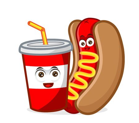 hotdog mascot cartoon illustration wirh a soft drink isolated in white background