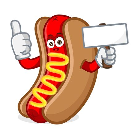 hotdog mascot cartoon illustration give thumb up hold blank sign isolated in white background Vettoriali