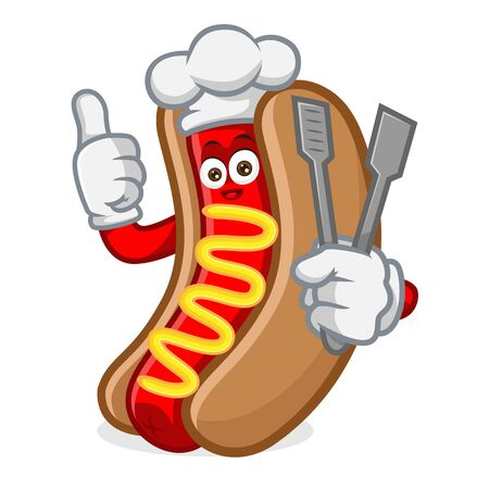 hotdog mascot cartoon illustration give thumb hold food tong isolated in white background