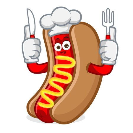 hotdog mascot cartoon illustration hold fork and knife isolated in white background Ilustração