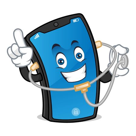 Smart phone mascot holding stethoscope and finding problem isolated in white background Vettoriali