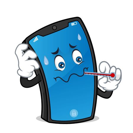 Smart phone mascot holding thermometer feeling hot isolated in white background