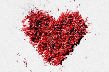 Penny pencils is Art design of A red heart dreamy imagination on white background  Red Heart Stock Photo