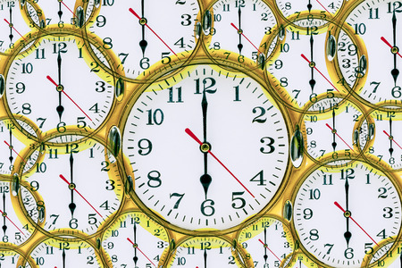 Abstract clock showing 6:00 am or pm.