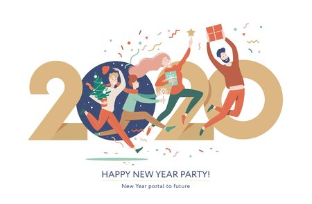 Merry Christmas and Happy New Year 2020. Group of young people jumping through the portal in the new year. Modern flat vector illustration, golden number