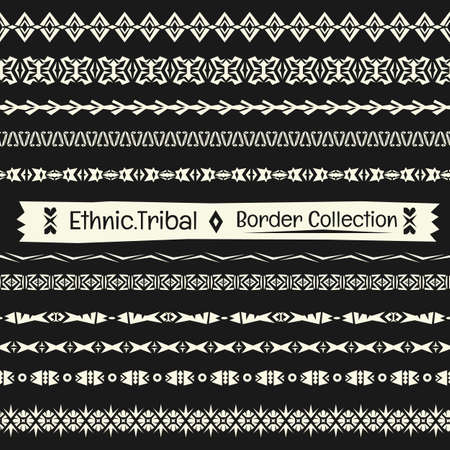 parer: Seamless abstract vector Tribal border collection in monochrome background.Ethnic border set pattern .boho style.