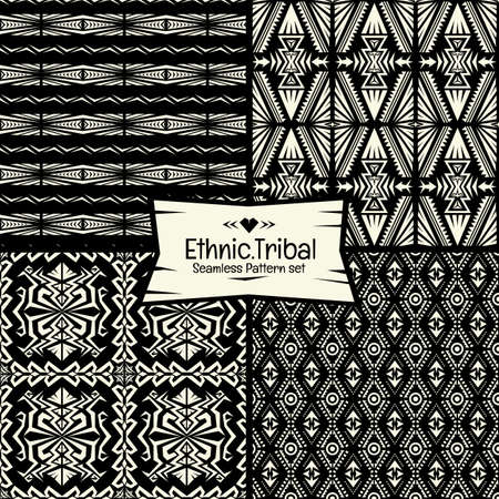 aborigine: Seamless abstract vector doodle tribal, Ethnic pattern collection in monochrome background.boho chic pattern set.