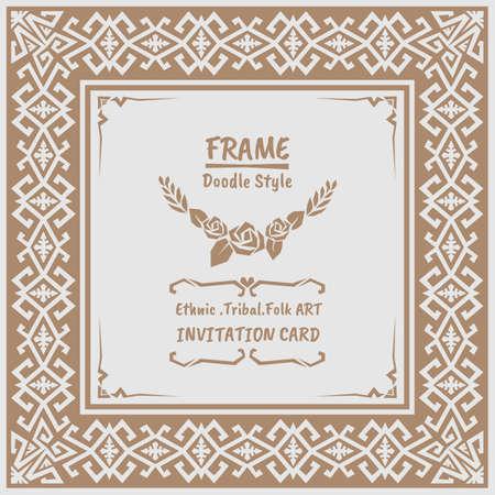 folk art: Abstract Doodle vector tribal ethnic style frame .Native Invitation card. Folk art style banner.