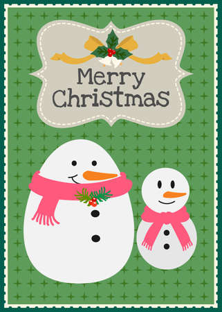 Christmas snowman family invitation card