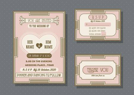 Wedding invitation card vector template set. retro and vintage style. Ilustração