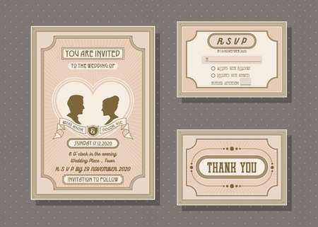 Wedding invitation card vector template set. retro and vintage style. Иллюстрация