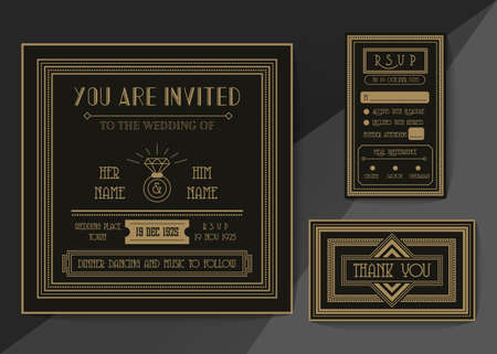 Wedding invitation card vector template set. Art deco style invitation card .