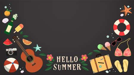 Hello summer chalkboard background.Cute summer objects. 일러스트