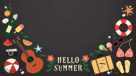 Hello summer chalkboard background.Cute summer objects. 矢量图像