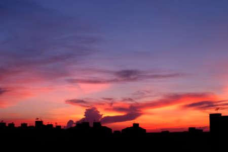 splendour: The beautiful sunset in the bangkok province, metropolis of Thailand
