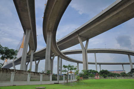 brighten: Curve of the suspension bridge with brighten sky view
