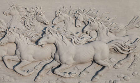 bass relief: Bass-relief Horses running