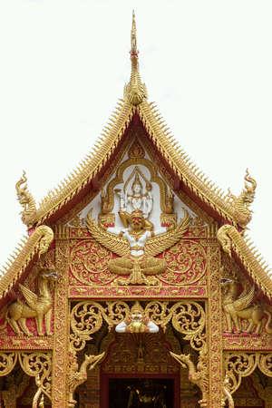 depicts: Pediment of temple depicts Vishnu god and mystical animal