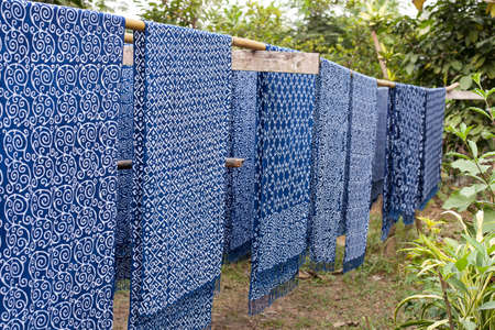 Cotton fabrics dye indigo color in different pattern