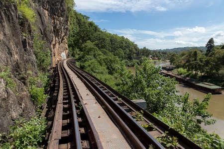 Death railway of Kanchanaburi, Thailand, beside river Kwai photo