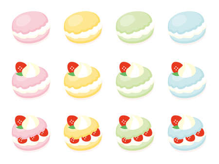 range fruit: vector soft color macaroon, dessert, cream puff, strawberry tea time