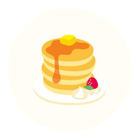 jarabe: vector torre de panqueques con crema de mantequilla, fresa, galleta de miel hora del té Vectores