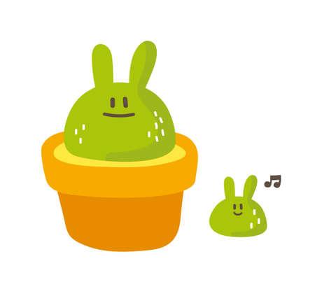 cute rabbit: Vector cute green rabbit cactus grow up, succulent, plant, pot