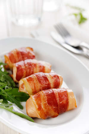 Chicked with grilled bacon