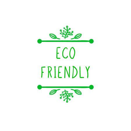 Vector Eco Friendly Sign, Hand Drawn Leaves, Doodle Green Frame Isolated on White Background. Illustration