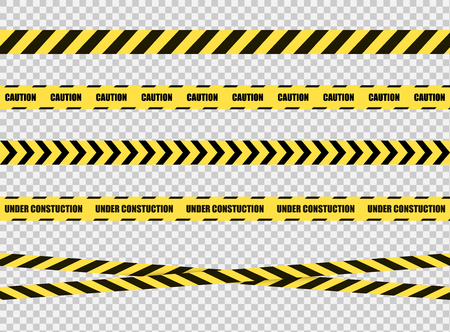 Colección de cintas de parada de vector, señal de zona de peligro, líneas cruzadas amarillas y negras brillantes sobre fondo transparente. Ilustración de vector