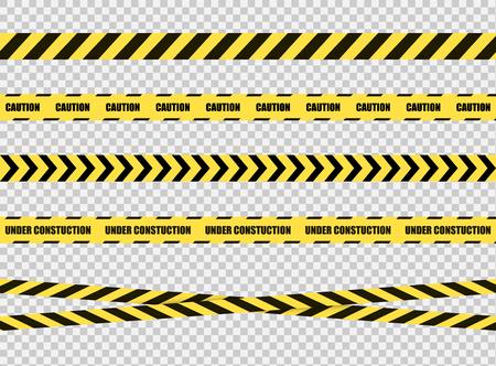 Wektor zbiór taśm stop, znak strefy zagrożenia, jasne żółte i czarne linie krzyżowe na przezroczystym tle. Ilustracje wektorowe