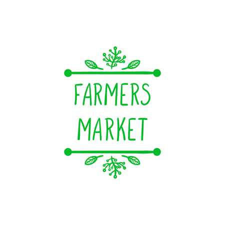 Vector Farmers Market Doodle Sign, Hand Drawn Letters, Green Sketched Icon.