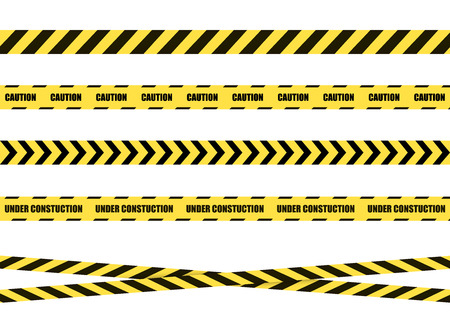 Vector Danger Sign Ribbon, Tape Isolated on White Background,Black and Yellow Cross Lines.