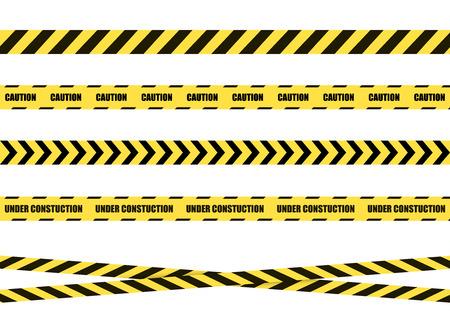 Vector gevaar teken lint, tape geïsoleerd op een witte achtergrond, zwarte en gele kruislijnen. Stockfoto - 103730883